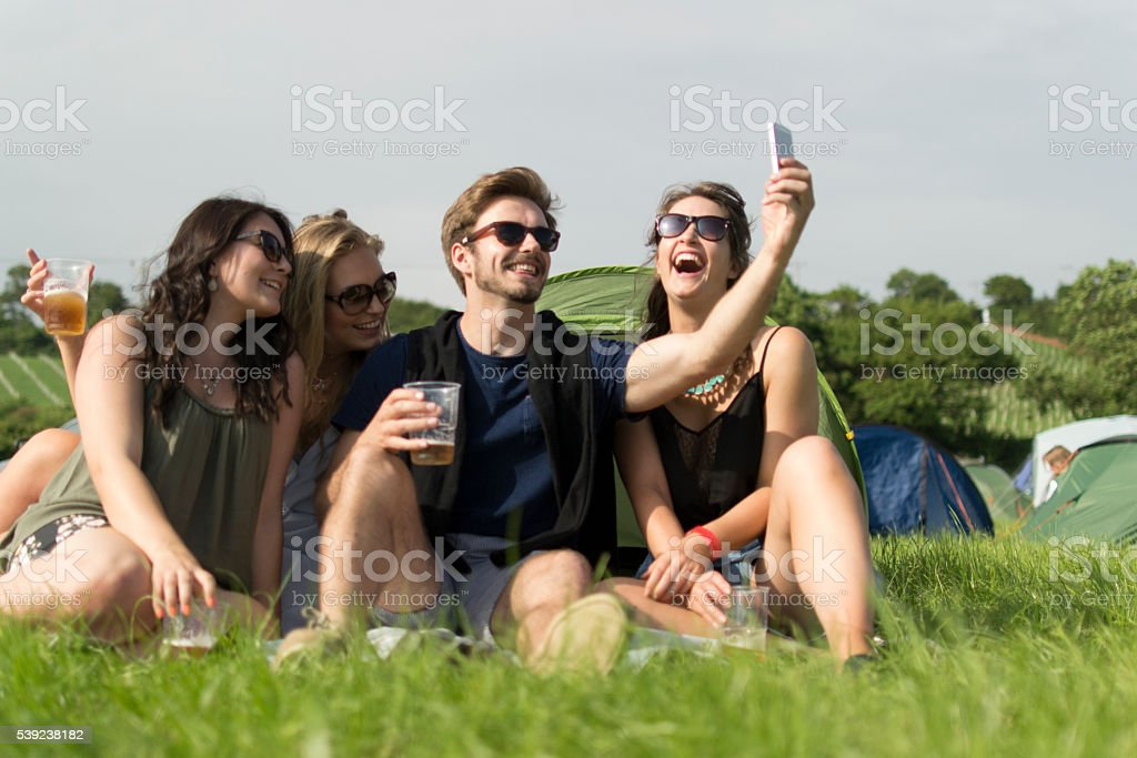 Happy campers royalty-free stock photo