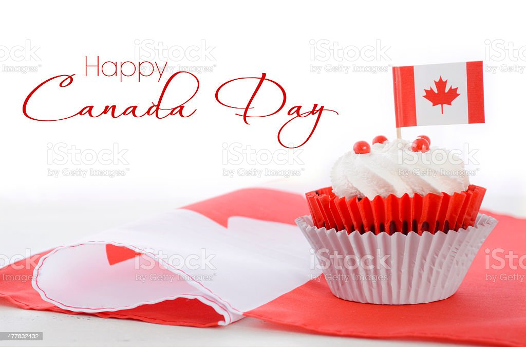 Happy Canada Day Cupcake stock photo