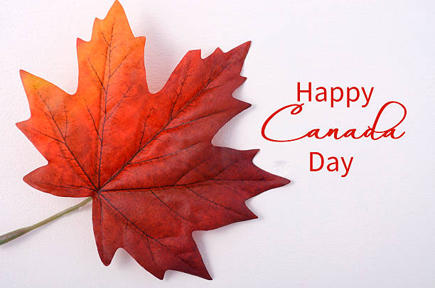 happy canada day maple leaf - canada day stock pictures, royalty-free photos & images