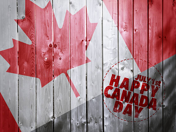 happy canada day on wooden fence texture background - canada day stock pictures, royalty-free photos & images