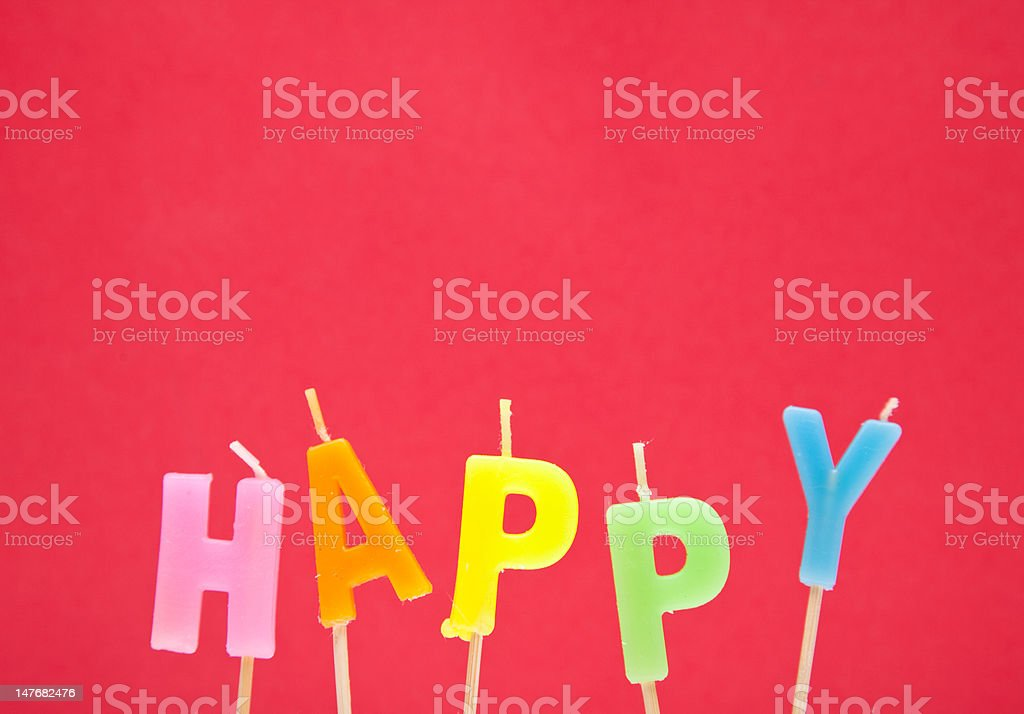 'Happy' Candles royalty-free stock photo