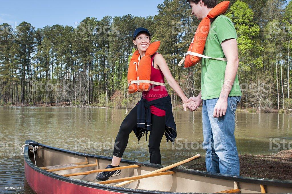 Happy Canoe Couple royalty-free stock photo