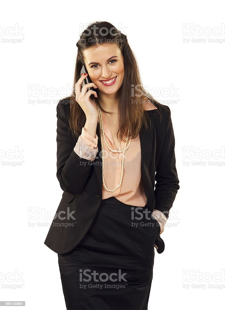 Happy Career Woman Using Her Phone royalty-free stock photo