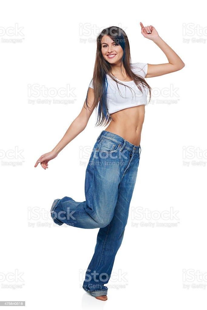 Счастливый беззаботный Девушка прыжки стоковое фото