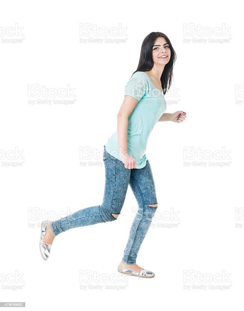 Heureux insouciance joyeuse Fille adolescente marche isolé primé - Photo