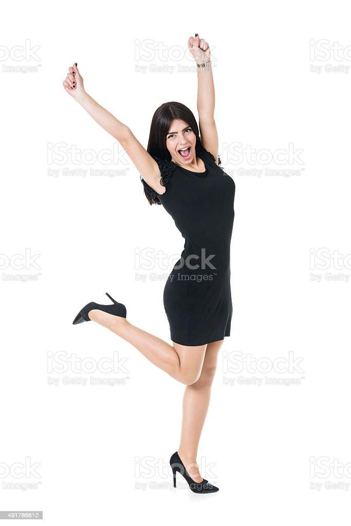 Insouciance joyeuse heureuse femme dans'isolé primé - Photo