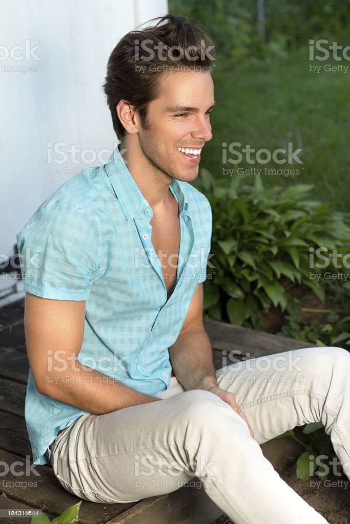 Happy Carefree Young Man stock photo