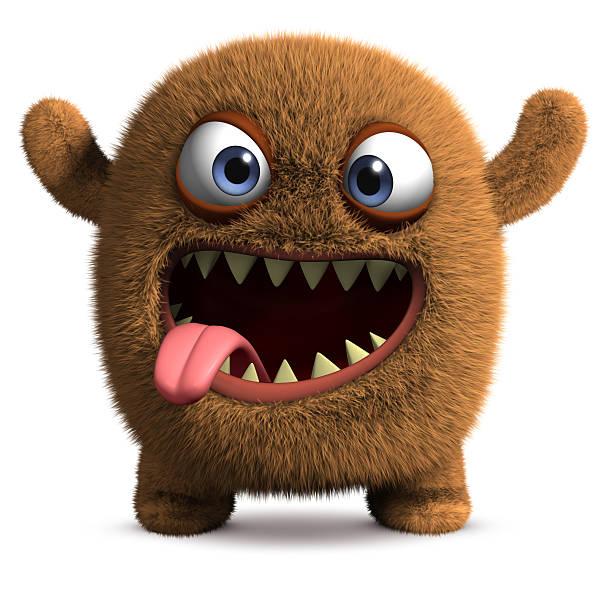 happy cartoon monster stock photo