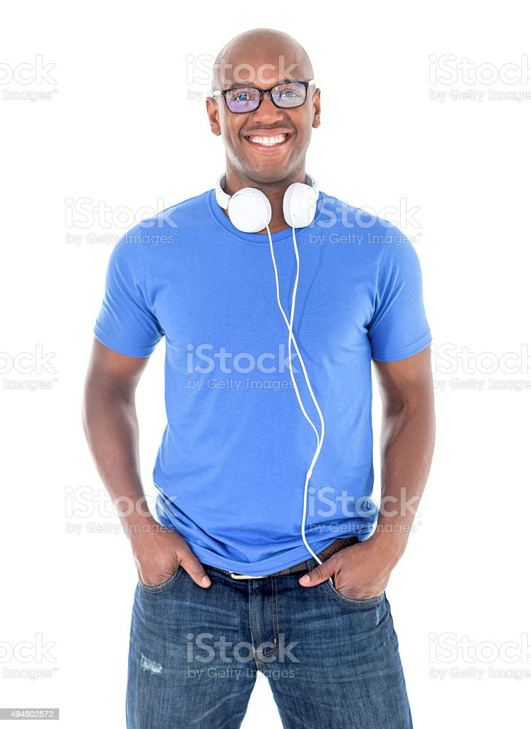 Happy casual African American man stock photo