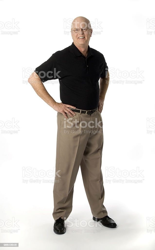 Happy Casual Businessman Standing on White Background royalty-free stock photo