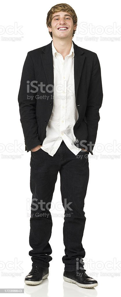 Happy Casual Young Man In Blazer, Full Length Portrait royalty-free stock photo