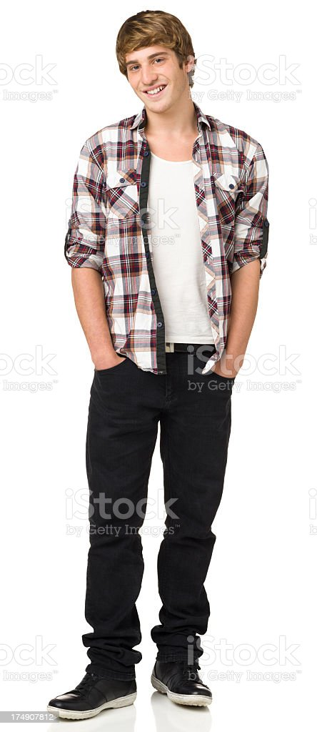 Happy Casual Young Man Standing Portrait royalty-free stock photo