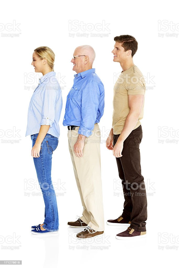 Happy Caucasian family standing in row royalty-free stock photo