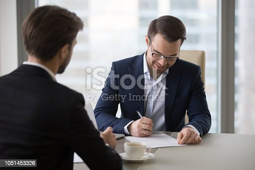 istock Happy CEO sign business contract closing deal with partner 1051453326