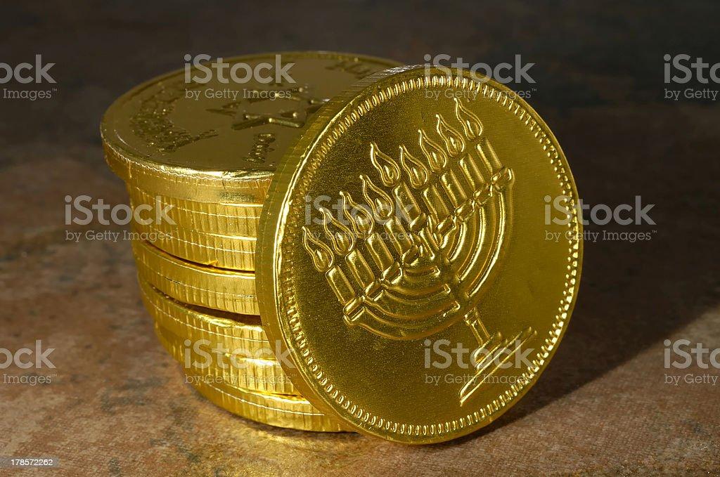 Happy Chanukah Coin stock photo