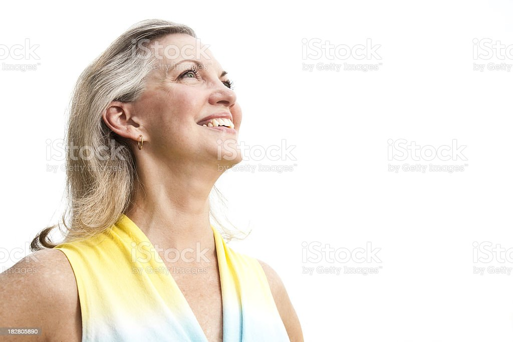 Happy Cheerful Mature Adult Woman Looking Away royalty-free stock photo