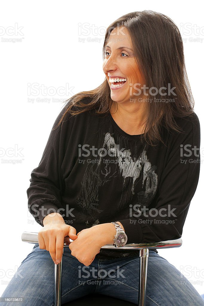 Happy cheerful woman with Toothy smiling royalty-free stock photo
