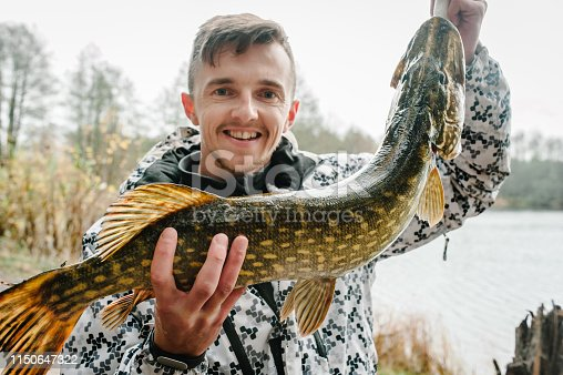 1145410808istockphoto Happy cheerful young fisherman hold a big fish pike on a background of lake and nature. Fishing background. Good catch. Trophy fish. angler. headshot. close up. 1150647322