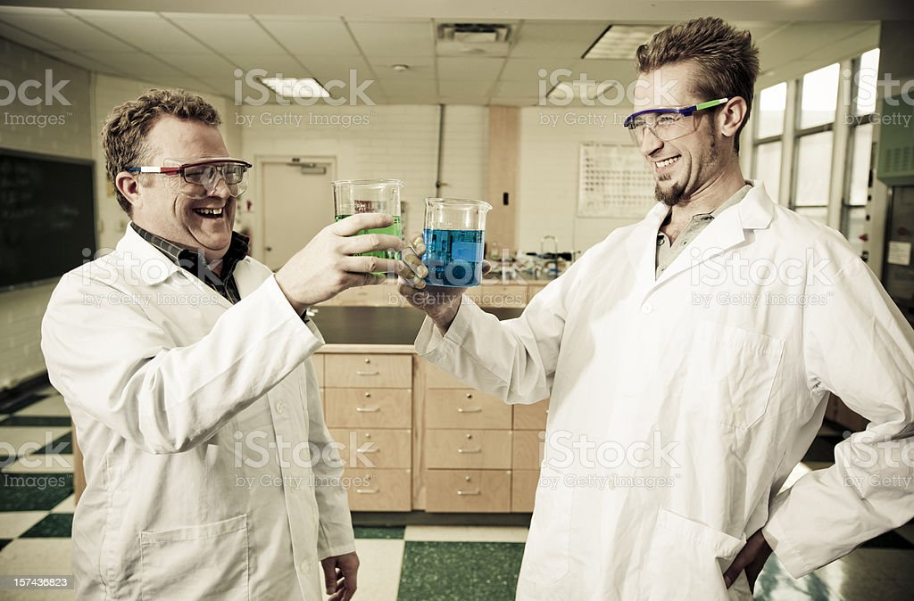 Happy chemists royalty-free stock photo