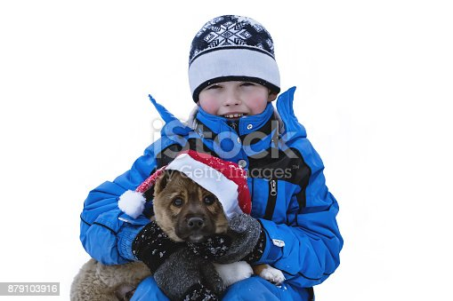 istock Happy child and dog on Christmas eve. 879103916