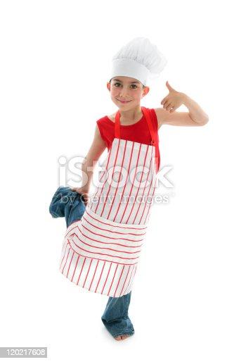istock Happy child chef thumbs up 120217608