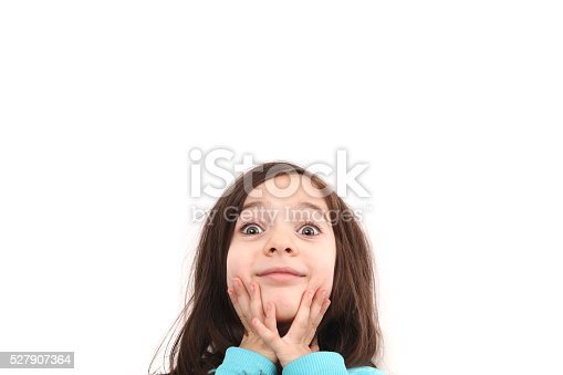 519837800 istock photo Happy child girl and blank white poster billboard 527907364