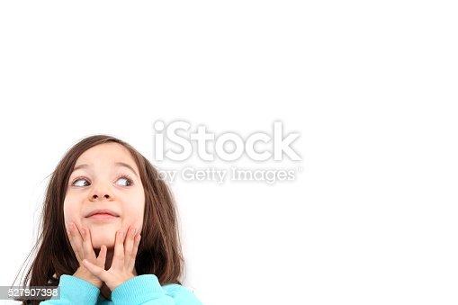 519837800 istock photo Happy child girl and blank white poster billboard 527907398