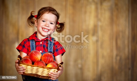 istock happy child girl with basket of peaches on wooden 657925960
