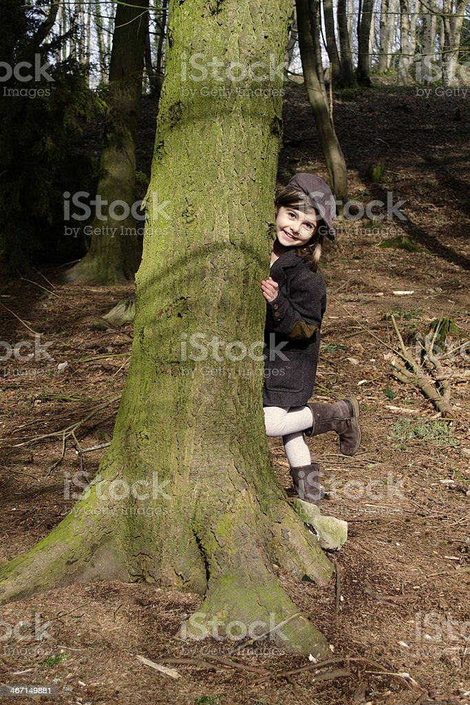 Happy child in forest royalty-free stock photo