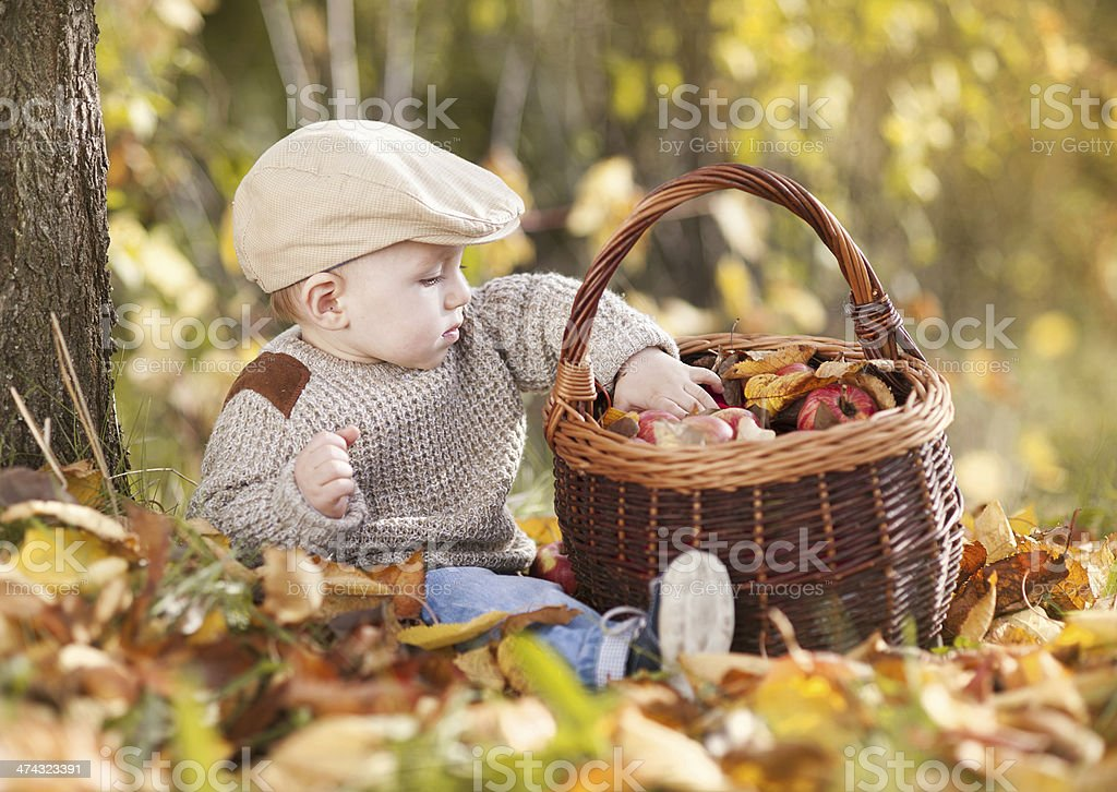 Happy child is playing in colorful autumn nature royalty-free stock photo