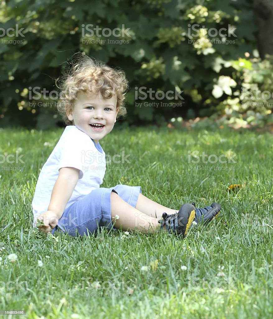 Happy Child Laughing Outdoors, Summer royalty-free stock photo