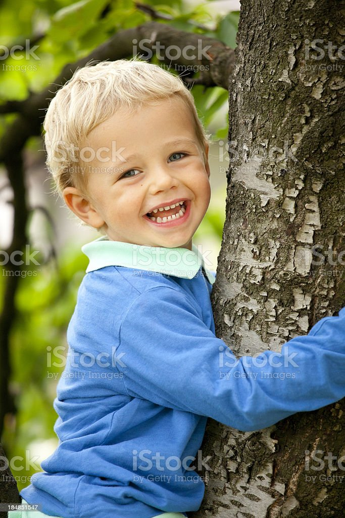 Happy child on tree royalty-free stock photo