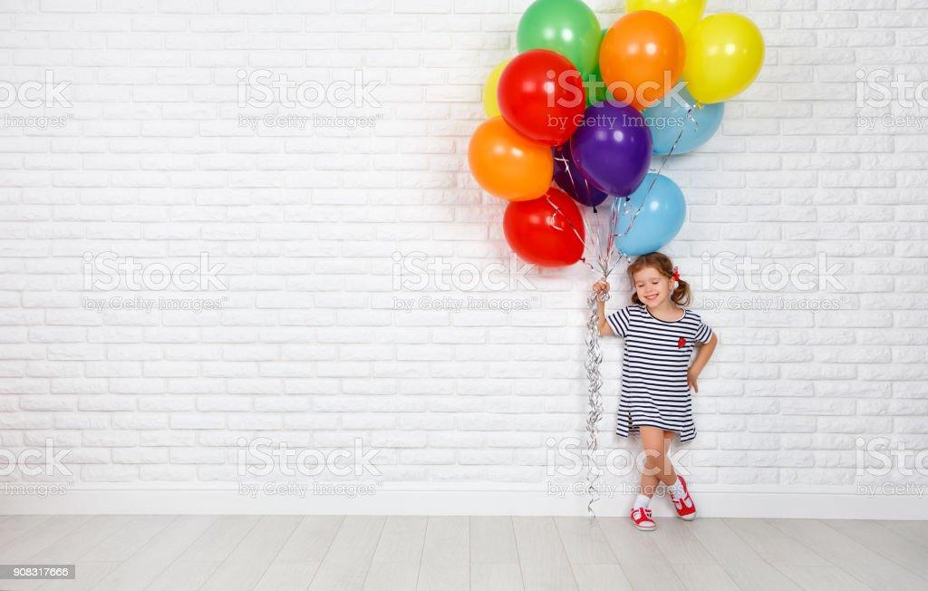Happy Child with Balloons stock photo