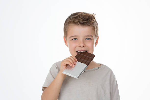 happy child with his dessert stock photo