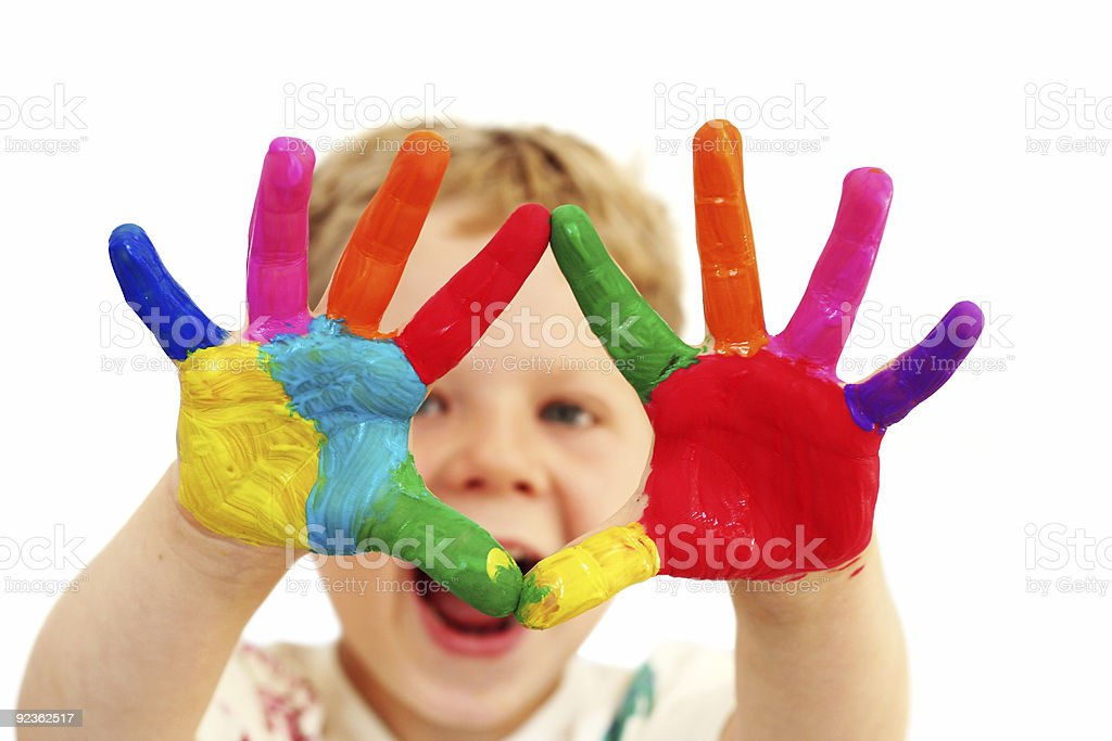 Happy child with painted hands royalty-free stock photo