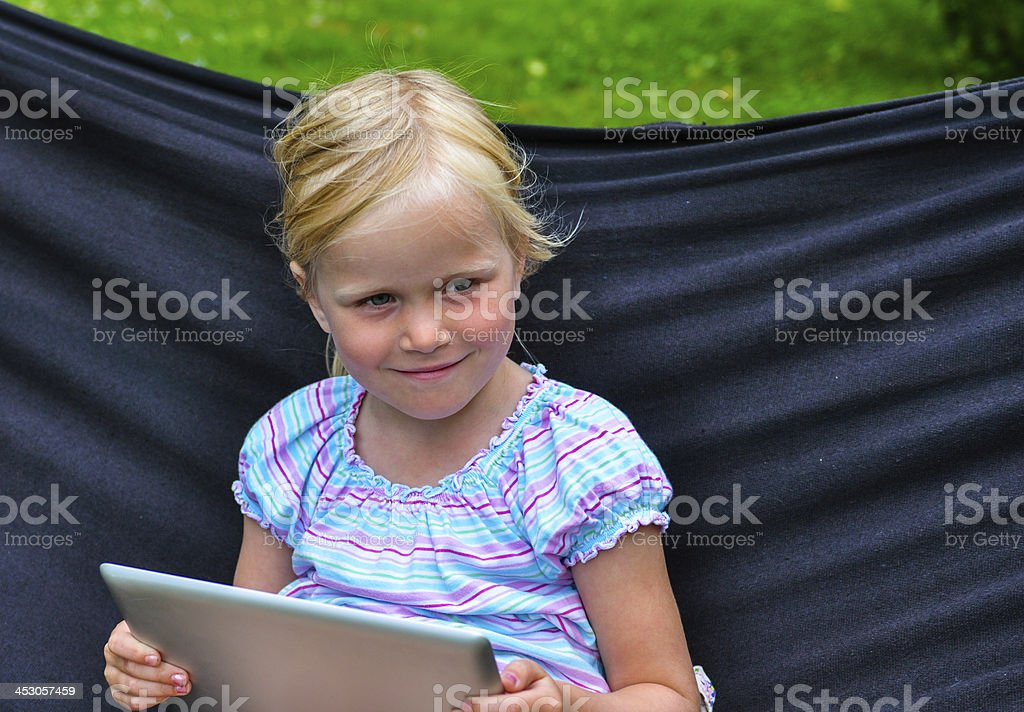 happy child with tablet royalty-free stock photo