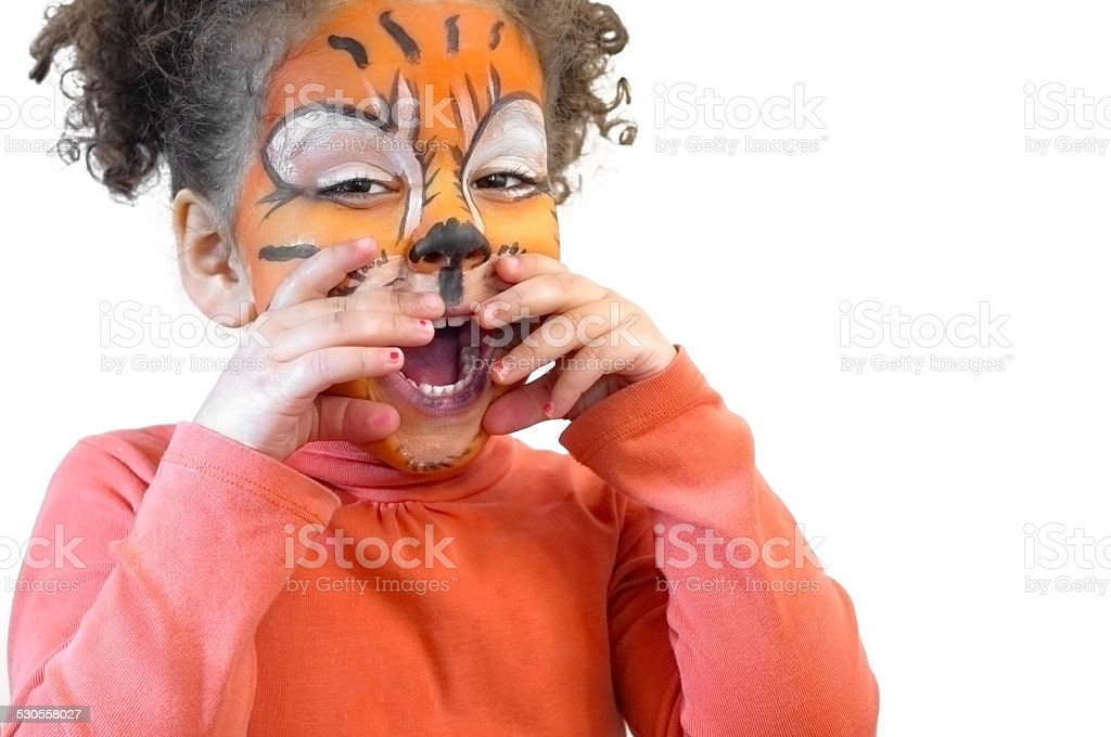Happy Child (3-4) with Tiger Face Paint stock photo