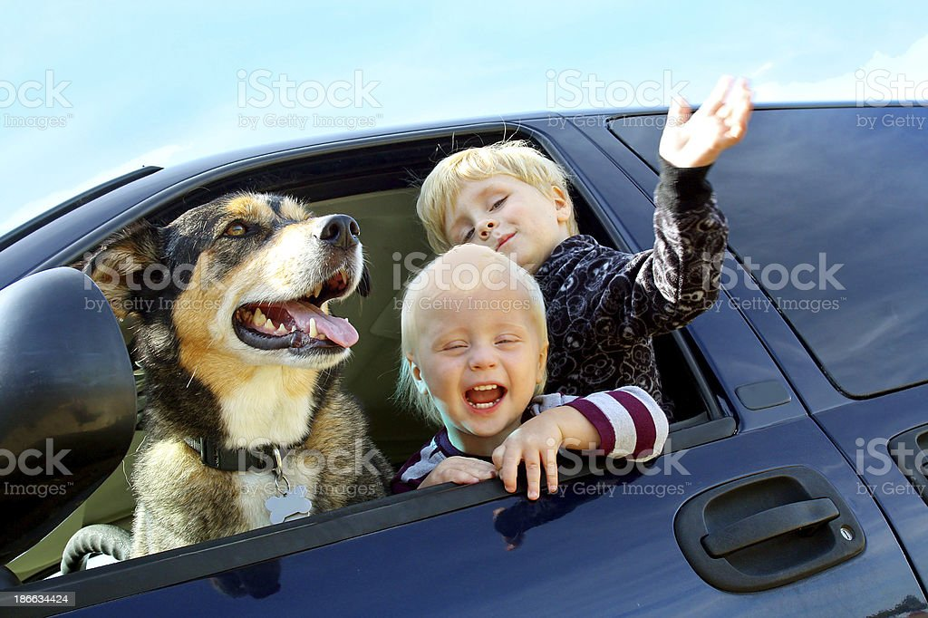 Happy Children and Dog in Minivan stock photo