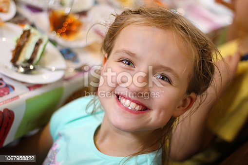 istock Happy children at a birthday girl's party 1067958822