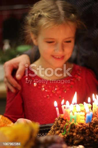 istock Happy children at a birthday girl's party 1067962084