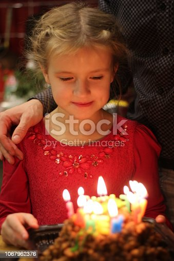 istock Happy children at a birthday girl's party 1067962376