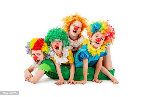 istock Happy children at the party in clowns costume 504078252