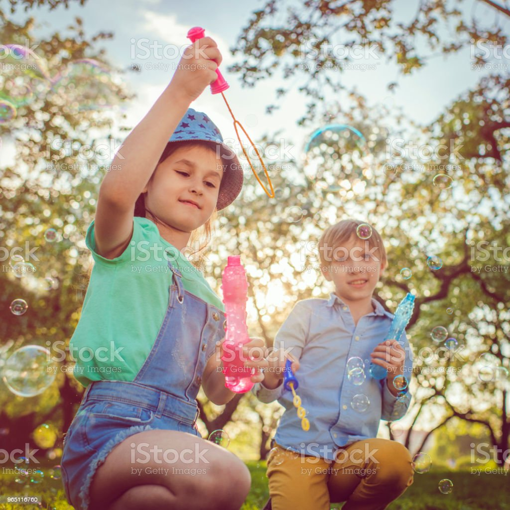 Happy children blowing bubbles in the park royalty-free stock photo