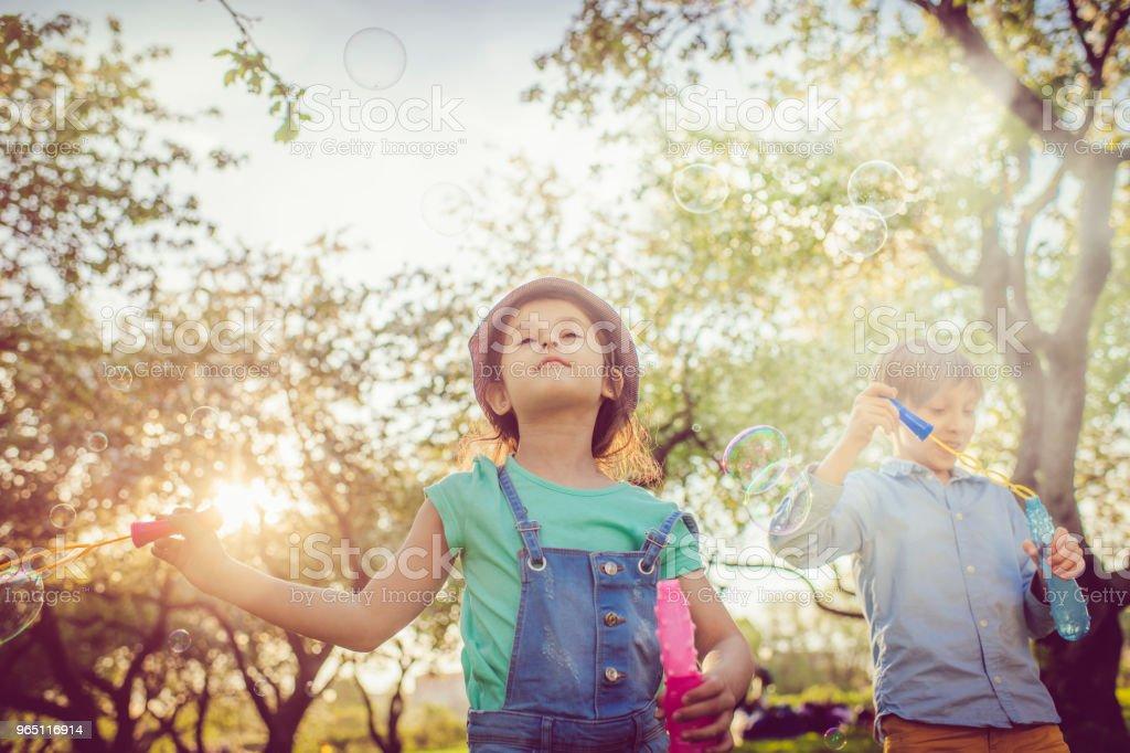 Happy children blowing bubbles in the park zbiór zdjęć royalty-free