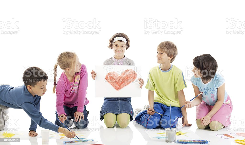 Happy children drawing. royalty-free stock photo