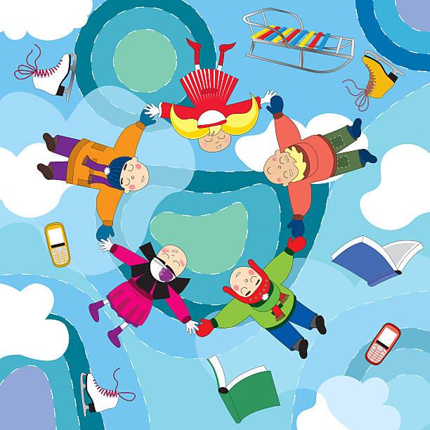 glückliche kinder fliegen und traum im winter. - baby born schlitten stock-fotos und bilder