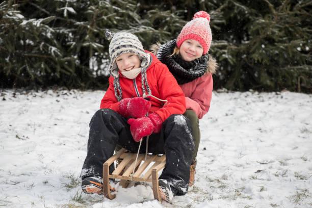 Happy children go sledging – zdjęcie