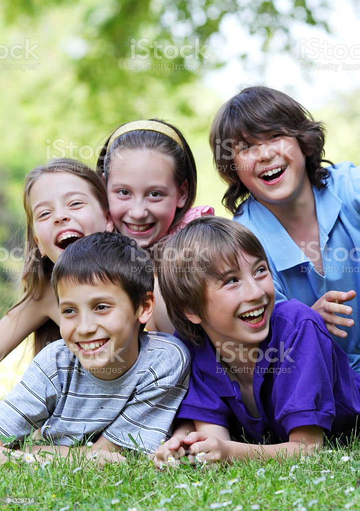 Happy children having fun on the meadow. royalty-free stock photo