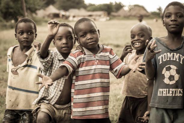 Happy Children in a Village stock photo
