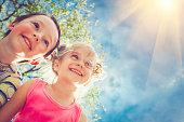 Happy children together in park